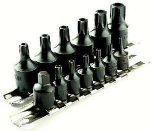 15 pc Air Impact Tamper Proof Star Bit Socket set 1 4quot; amp; 3 8quot; Dr Torx Sockets