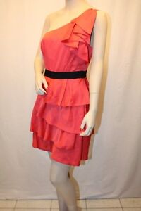 NEW BCBG CORAL TIERED RUFFLE MINI ONE SHOULDER DRESS SIZE 10