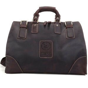 Men's Large Leather Travel Bag Luggage Duffle Gym Messenger Bags Case Suitcases