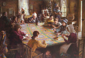 quot;The Quilting Bee 19th Century Americanaquot; Morgan Weistling Giclee Canvas $750.00