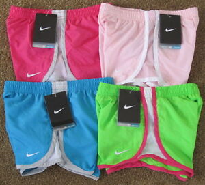 NWT Nike Girls Tempo Running Shorts wBriefs 367358 Pink Blue Green
