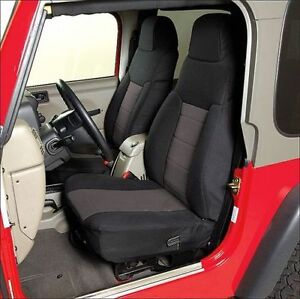 2003-2006 Jeep Wrangler Neoprene Front & Rear Seat Covers Black with Gray Center