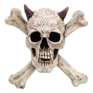 CROSS BONES HORNED DEVIL SKULL STATUE WALL PLAQUE RESIN FIGURINE AWESOME DETAILS