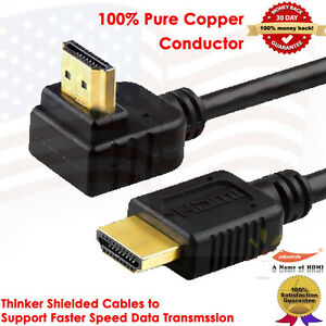 15ft 90 Degree Right Angle HDMI Cable with Ethernet Full HD Supports 3D Audio C $11.54