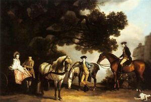 Oil Stubbs George - The Milbanke and Melbourne Families & horses In A Landscape