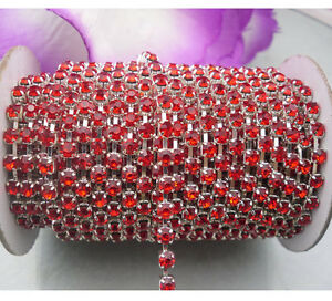 2&10yard Red crystal glass rhinestone close Silver cup claw chain trims Applique