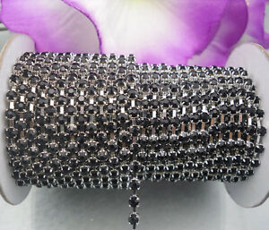 2&10yards Black crystal glass rhinestone close Silver chain cup trims Applique