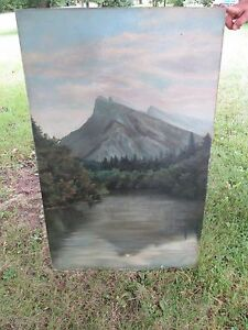 Large Antique Oil on Canvas Painting Signed KA Maclean Mountain Scene Adirondack $199.99