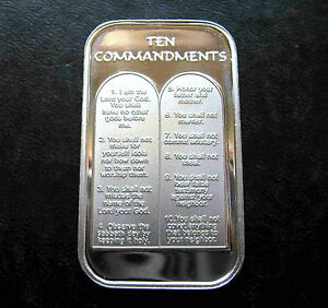 1oz TEN 10 COMMANDMENTS .999 PURE SILVER BAR UNC & SEALED IN VINYL