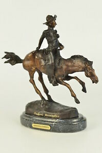 100% Bronze Western American Sculpture Arizona Cowboy Art by Frederic Remington