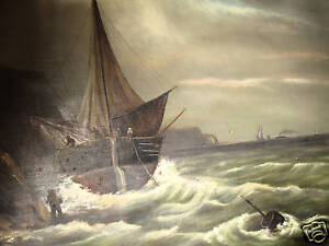 VERY EARLY OIL PAINTING ON CANVAS-POWERFUL SHIP & WAVES