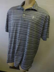 mens TIGER WOODS NIKE Fit Dry ss blue golf polo shirt gray striped sz 2XL CLEAN