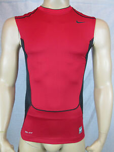 NWT Nike Pro Combat Men's Dri-Fit Hypercool Compression Shirt Red S L 449837