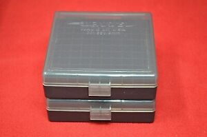 (2 PACK) 9mm  380  AMMO BOXES  STORAGE CASES (SMOKE COLOR) BERRY'S MFG.