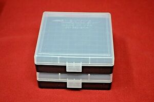 (2 PACK) 9mm  380  AMMO BOXES  STORAGE CASES (CLEAR COLOR) BERRY'S MFG.