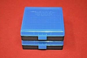 (2 PACK) 9mm  380  AMMO BOXES  STORAGE CASES (BLUE COLOR) BERRY'S MFG.