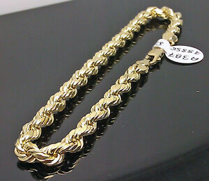 Real 10K Men's Yellow Gold Rope Bracelet 5mm 8