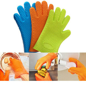SILICONE Mitt Oven Heat Gloves Resistant Cooking Hot Pot BBQ Kitchen Hand Safety