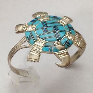 Sterling Silver Handmade Inlay Turquoise and Opal Stone Turtle Cuff Bracelet