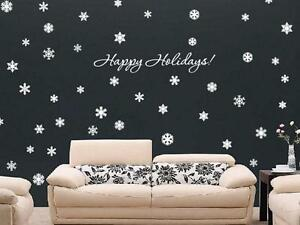 HAPPY HOLIDAYS & 72 SNOWFLAKES Art Decals Christmas Vinyl Wall Decor