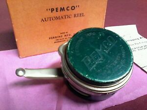 ANTIQUE VINTAGE RARE PEMCO AUTO.FLY REEL BOX FOR ROD LURE General Store display