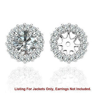 White SI2 Diamond Solitaire Halo Stud Bridal Earrings Jackets 14K White Gold 3