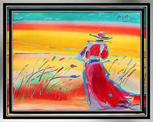 peter max original acrylic walking in s 43 w