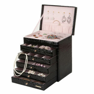 Black Large Jewelry Box Case Cabinet Ring Necklace Storage Display Travel Gift