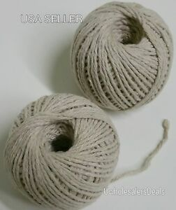 2 Rolls Cotton Twine White Natural Strings 165 feet each roll