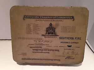 Lithograph Printing Stone 1900's Greenville SC Chamber of Commerce