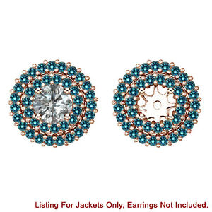 Blue Diamond Double Halo Solitaire Stud Bridal Earrings Jackets 14K Rose Gold
