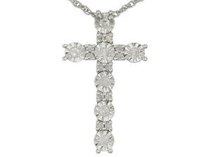 Monture Diamond Collection Tm .20ctw Diamond Cross Necklace in Sterling Silver