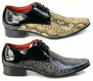Mens Italian Designer Dress Shoes Snakeskin Pointed Leather Lined Black Beige