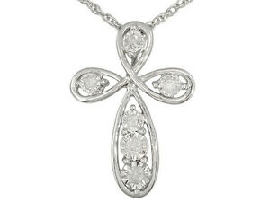 Monture Diamond Collection Tm .10ctw Diamond Cross Necklace in Sterling Silver