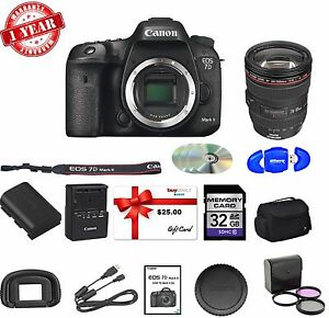 Canon EOS 7D Mark II DSLR W 24-105MM USM LENS + $25 GIFT CARD SUPREME KIT