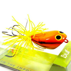 NEW FISHING JUMP FROG LURE BAIT TOP WATER HANDCRAFT YELLOW RESIN TACKLE HOOKS V4