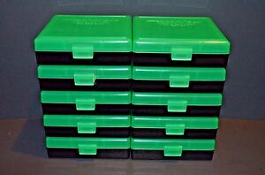 9mm  380 (10 pack) PLASTIC STORAGE AMMO BOXES (ZOMBIE GREEN) BERRY'S MFG.