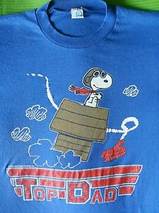 L TOP Gun DAD Vintage '86 SNOOPY RED BARON Fathers Day SINGLE STITCH T Shirt USA $49.99