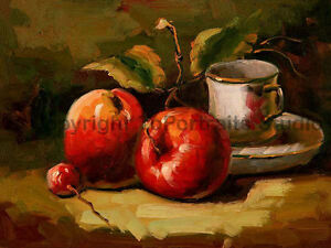 Apples With A Cup Of Tea Original 100% Hand Painted Oil Painting  34