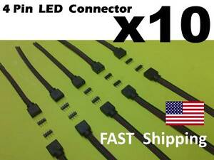 10 qty Male Female 4 Pin With Wire RGB Connector 3528 5050 RGB LED light Strips