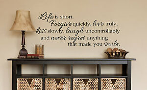 LIFE IS SHORT Wall Art Decal Quote Words Lettering Decor DIY Sticker
