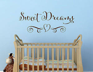 SWEET DREAMS HEART Girls Decor Wall Art Decal Quote Words Lettering Sticker