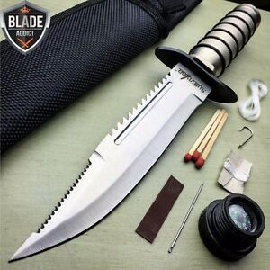 10quot; TACTICAL SURVIVAL Rambo Hunting FIXED BLADE KNIFE Army Bowie w SHEATH