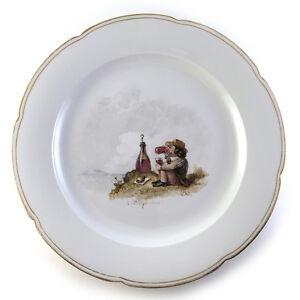 Unusual German Porcelain Caricature Plate Signed CR: Nature Lover Picnic C.1900