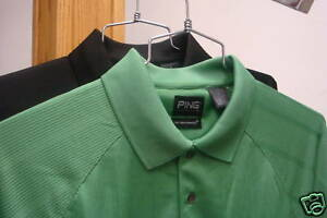 2 PING Golf NEW Mens Size Large Dri Fit Dry Fiber Polo Sport Shirts Black Green