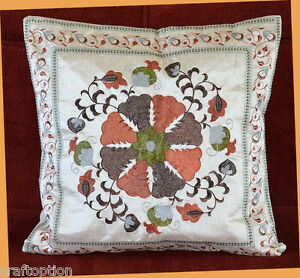 Silk Embroidery Hand Made White Pillow Cover from India
