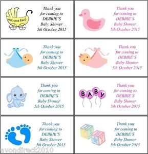 PERSONALISED BABY SHOWER BOY GIRL FAVOUR LABELS 8 or 21 Per Sheet
