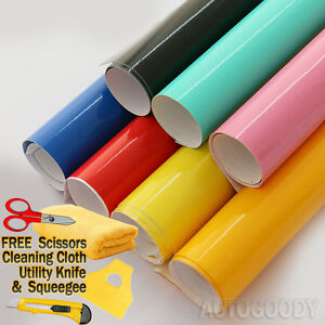 High Gloss Glossy Vinyl Film Wrap Sticker Decal DIY Bubble Free Air Release $7.82