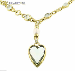 Judith Ripka Designer JR 18K Yellow Gold Green Quartz Diamond Pearl Necklace