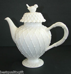 NEW GRACIE CHINA 3-D VICTORIAN BIRD WHITE LACE CERAMIC COFFEE,TEAPOT 4 CUP,32oz